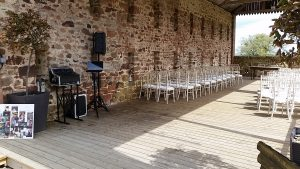 High House Farm Brewery Discreet Outdoor Wedding Ceremony Music Setup