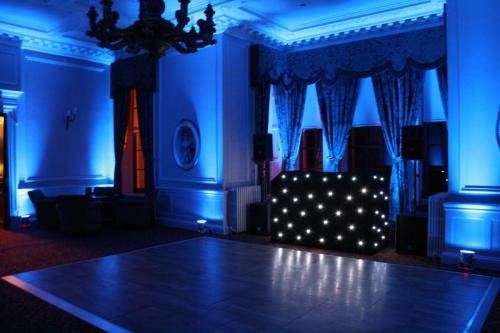 Blue Uplighting at Crathorne Hall