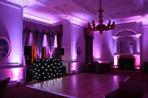 Purple Uplighting at Crathorne Hall